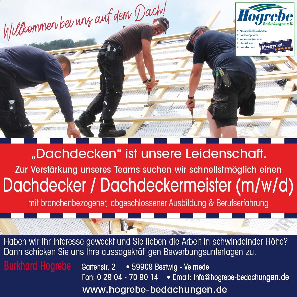 Hogrebe Bedachungen Dachdecker / Dachdeckermeister gesucht