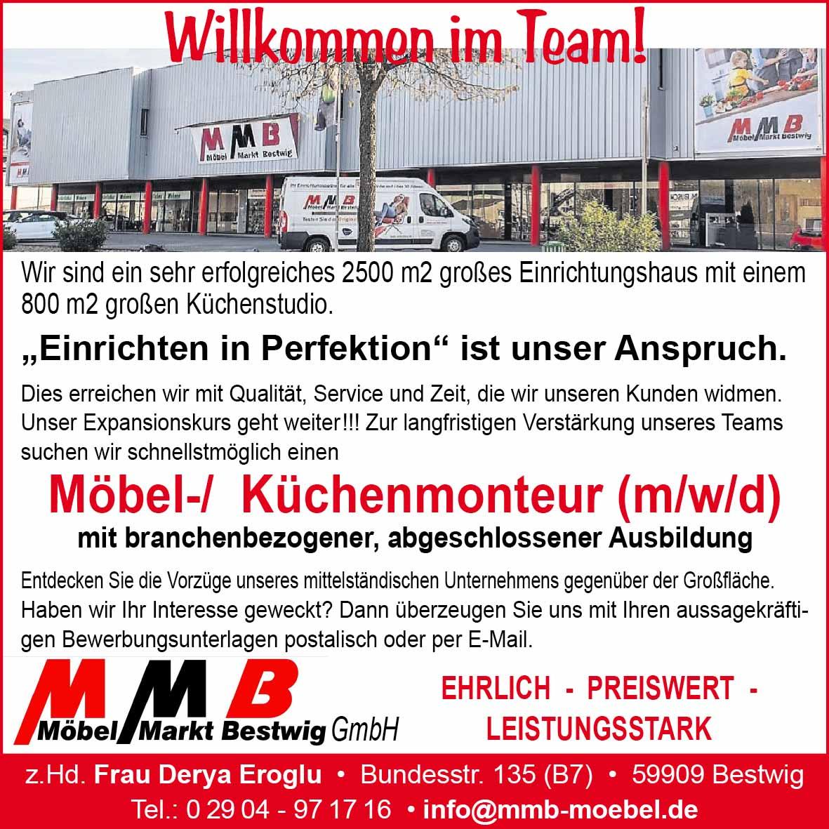 MMB Möbel- Küchenmonteur gesucht